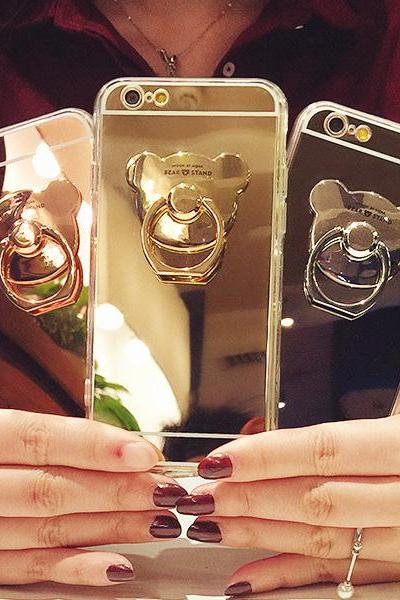 Mirror Surface with Bear Ring Holder Soft Case Cover for iPhone 6 6s Plus 7 7 Plus