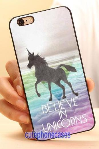 Believe in Unicorns Cell Phone Case Cover for iPhone 4 4S 5 5S 5C SE 6 6S 7 Plus,Samsung Galaxy S3 S4 S5 S6 S7 Edge