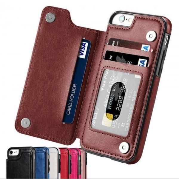 New Fashion Leather Wallet Case with Card Slots iPhone X 8 7 6 Plus 5 & Samsung Galaxy S7 S8 S9 Plus Note 8 9