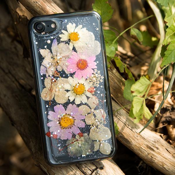 Real Pressed Flower Silicone TPU Case cover for iPhone 7,iPhone 7 Plus
